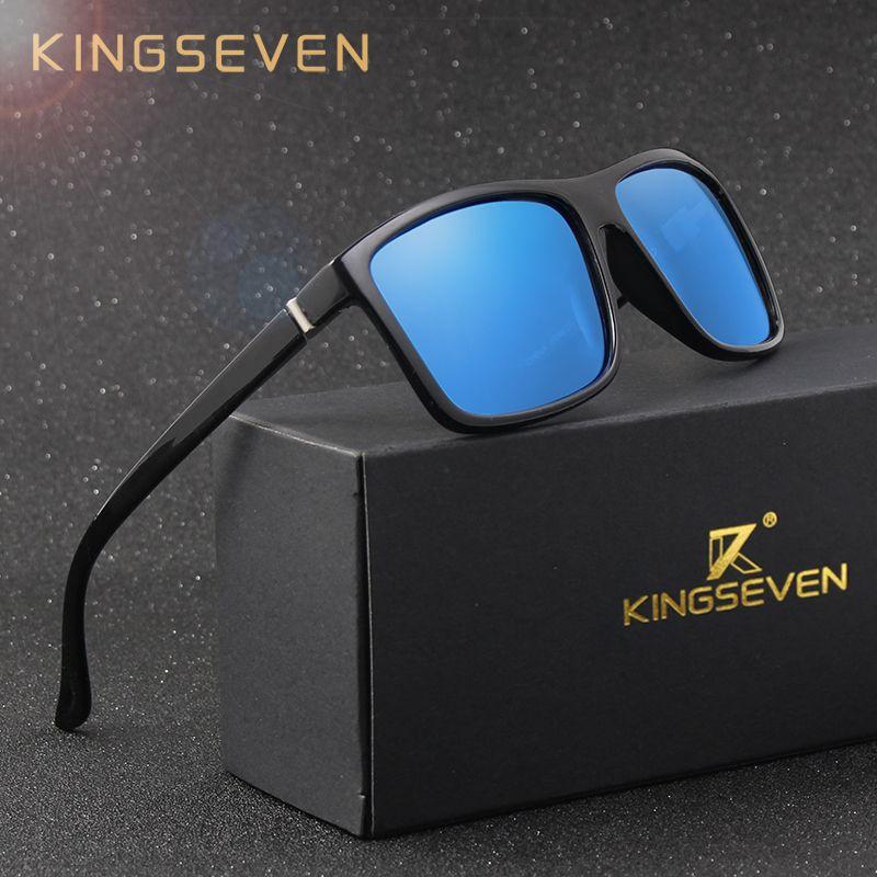 KINGSEVEN D'origine lunettes de Soleil Femmes Hommes Marque Design TR90 Cadre Lunettes de Soleil Pour Hommes Mode Classique UV400 Carré Lunettes S730