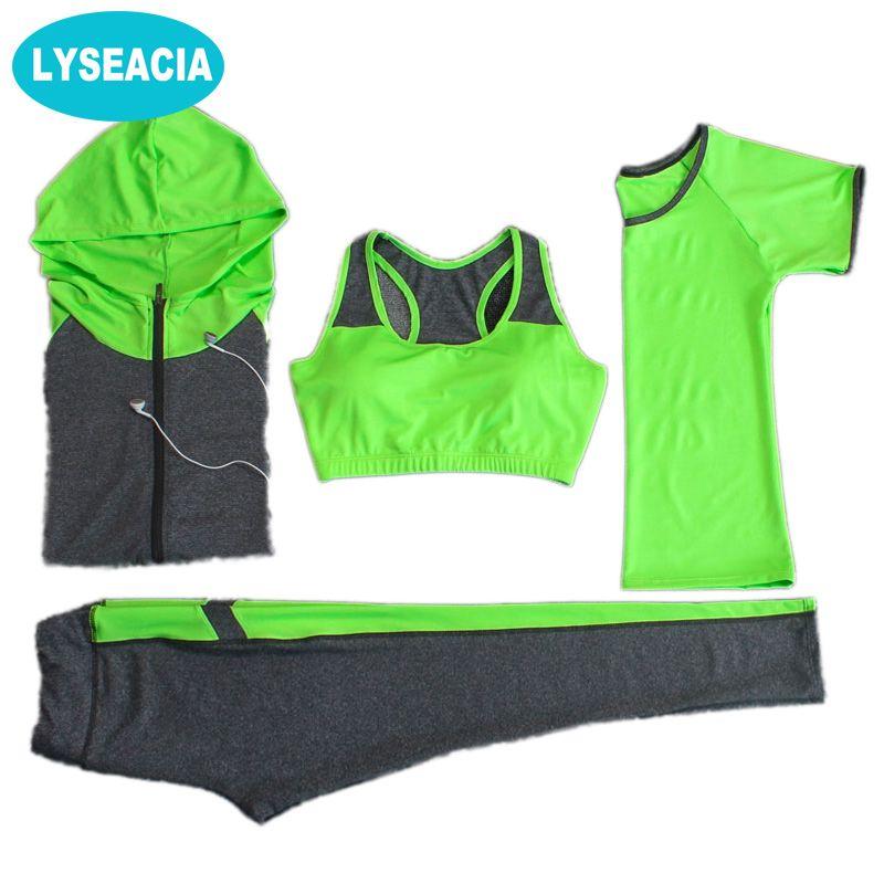 LYSEACIA Atmungsaktive Sport anzug Frauen Fitness anzug Yoga bh Lange sleeeve Hoodies Lauf Yoga t-shirt Sport Leggings Sportbekleidung