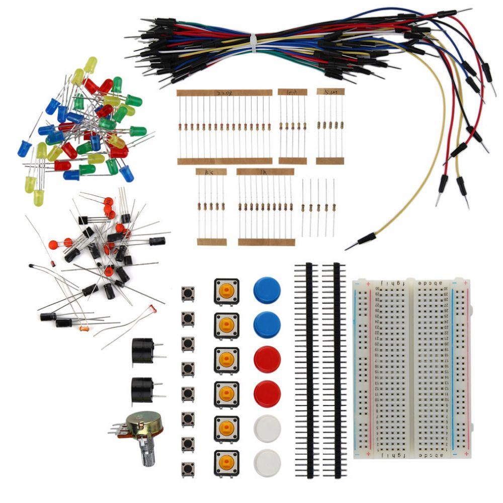 Электронные Starter Kit резистор зуммер Макет LED кабель конденсатор привело потенциометра для Arduino электронных Вентиляторы