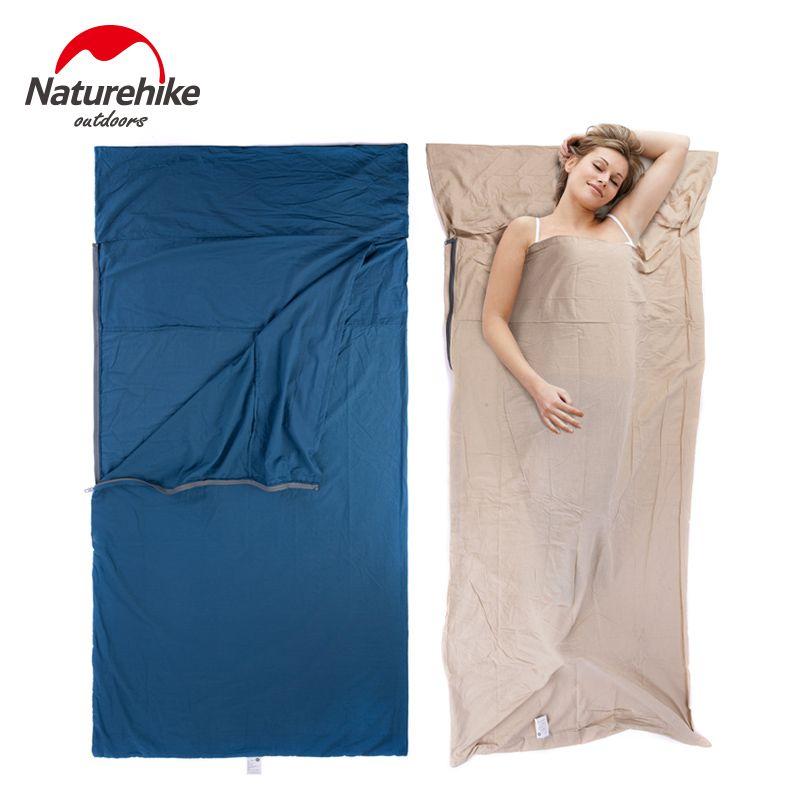Naturehike Splicing Envelope Sleeping Bag Liner Cotton Ultralight Portable Outdoor Camping <font><b>Hiking</b></font> Travel Summer Sleeping Bag