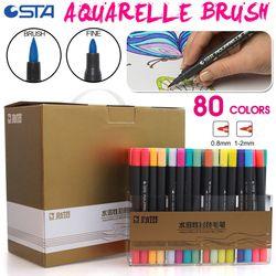 STA 80 Couleurs Double Tête Artiste Soluble Croquis Coloré Marqueur Pinceau Set Pour Dessin Design Peint Art Marqueur Fournitures