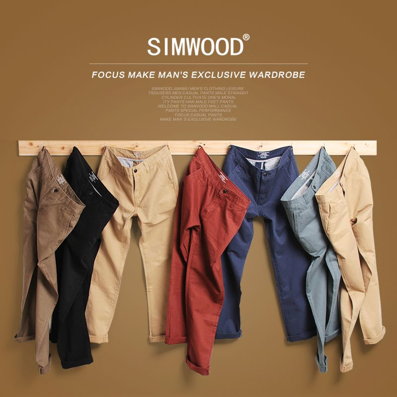 Simwood Brand Spring Winter New Fashion 2018 Slim Straight Men Casual Pants 100% Pure Cotton Man Trousers Plus Size  KX6033