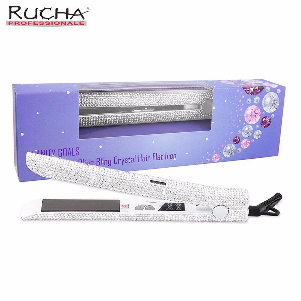 White Gems Super Bling LCD Digital Display Titanium Plate Hair Straightener Sparkling Crystal Diamond Rhinestones Flat Iron