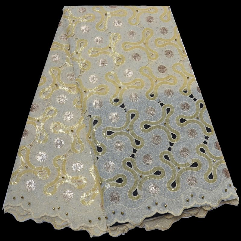 Free shipping (5yards/pc) cream gold African handcut organza lace Swiss lace fabric with sequins and beads for party dress OP80