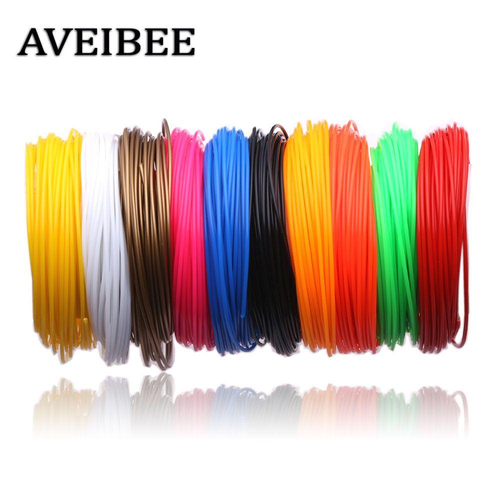Aveibee 100 м 10 Цвета 1.75 мм PLA нити материалы для 3D печать Ручка нитей Пластик расходных DIY подарки
