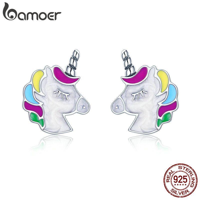 BAMOER Hohe Qualität 100% 925 Sterling Silber Bunte Speicher Stud Ohrringe für Frauen Sterling Silber Schmuck Geschenk SCE393