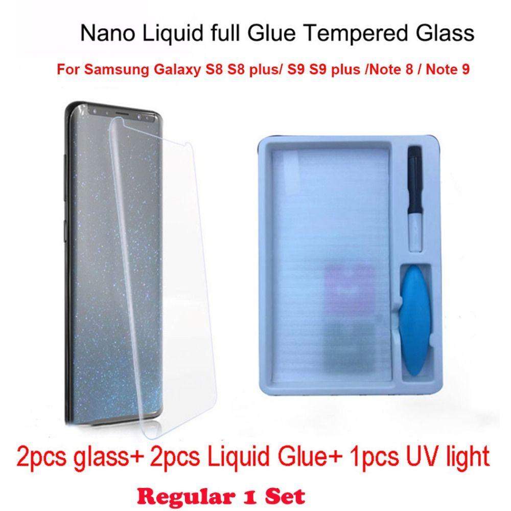 2 pcs Nano Liquide plein Colle En Verre Trempé et 1 pcs UV Light & 2 pcs Liquide Colle Pour Samsung galaxy Note 8 S8 S9 Note 9 Écran Protecteur