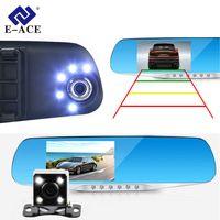 E-ACE Автомобильный видеорегистратор Kамера светодиодные фонари синий зеркало заднего вида FHD 1080 P ночного видения Видео Регистраторы двойная...