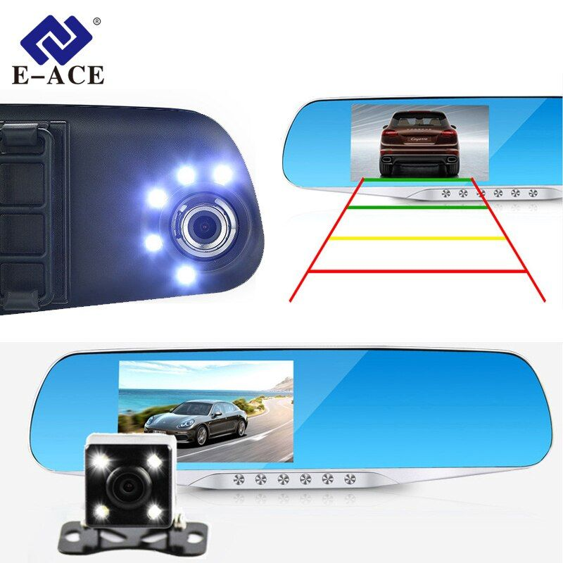 E-ACE Car Dvr Camera Led Lights Blue Rearview Mirror FHD 1080P Night Vision Video Recorder Dual Lens Auto Registrator Dash Cam