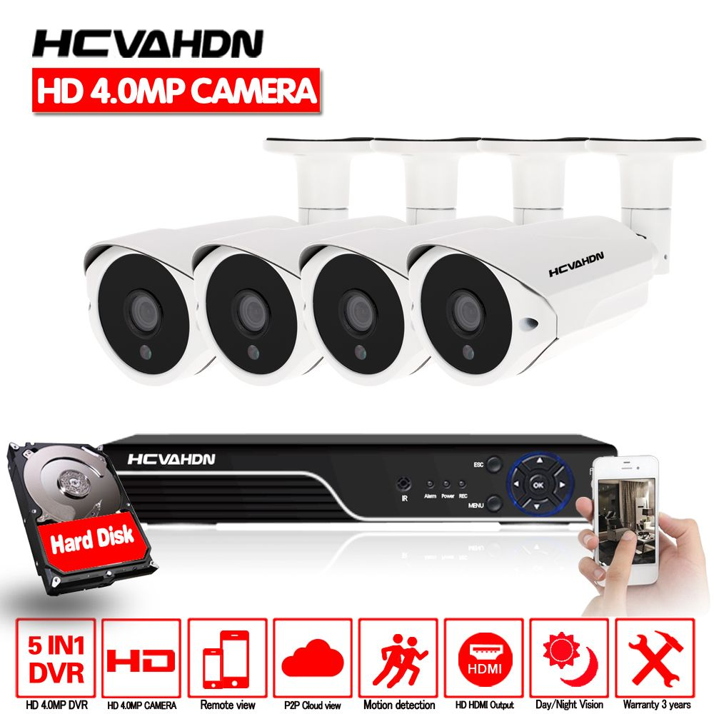 HCVAHDN SONY 4MP CCTV Surveillance Kit 5mp Security Camera System 4ch DVR NVR 5MP Video Output 40m night vision camera P2P VIEW