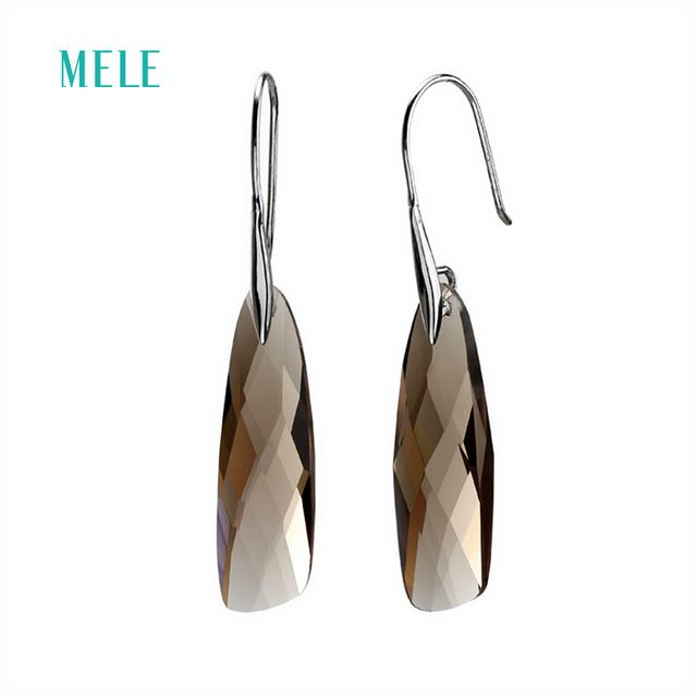 Hotsale ! Natural smoky quarts silver earring, 9mm*32mm special shape, checkerboard cutting, all clean stone quality