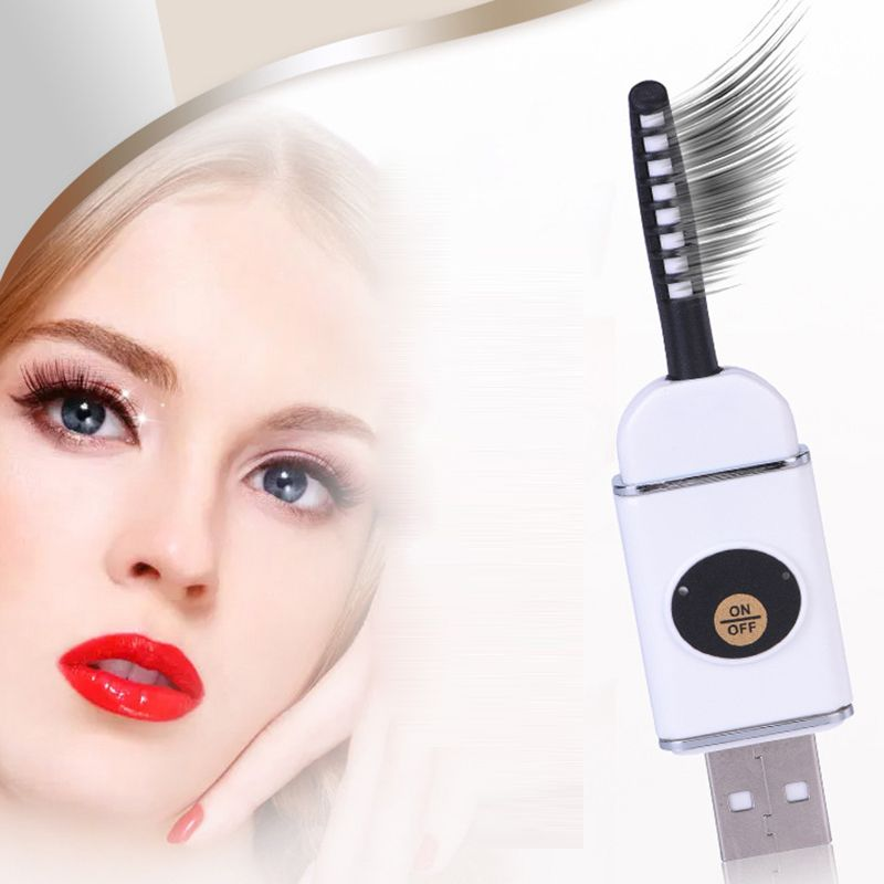 Electric Heated Eyelash Curler Portable Eye Lashes <font><b>Curling</b></font> Tool+Comb U Disk USB Connector Charge Curled Lashes Clip Makeup Tools