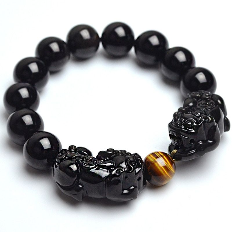 Natural Stone Black Obsidian Bracelet With Tiger Eye And Double Pixiu Lucky Brave Troops Charms Women And Men Jewelry 2017