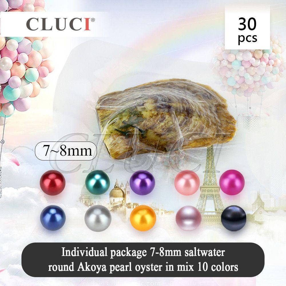 Cluci UPS envío libre, 30 unids 7-8mm mezclado 10 colores Akoya ostras con perlas, brillante colorido redondo Cuentas para la fabricación de la joyería