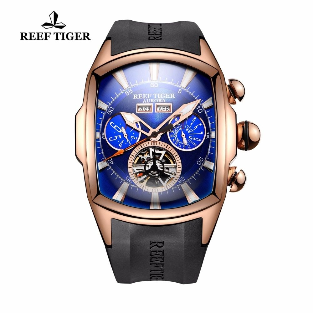 Reef Tiger/RT Mens Sport Watches Analog Display Luminous Tourbillon Watches Rose Gold Blue Dial Tank Watches RGA3069
