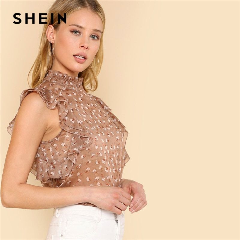 SHEIN Sexy Office Workwear Beach Womens Tops and Blouses Floral Brown Calico Print Layered Butterfly Sleeve Summer Blouse