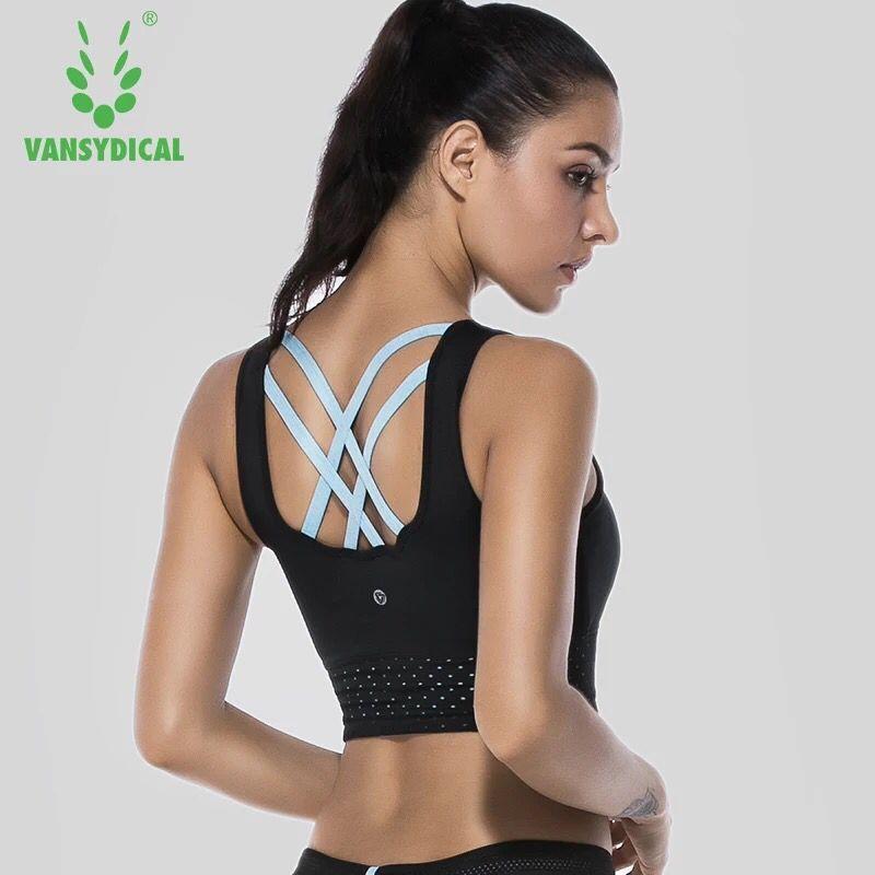 Sexy Backless Sport-Bh Frauen Fitness Weste Tops Stoßfest Padded Bra Yoga Workout Gym Ausbildung Push up Lauf Unterwäsche