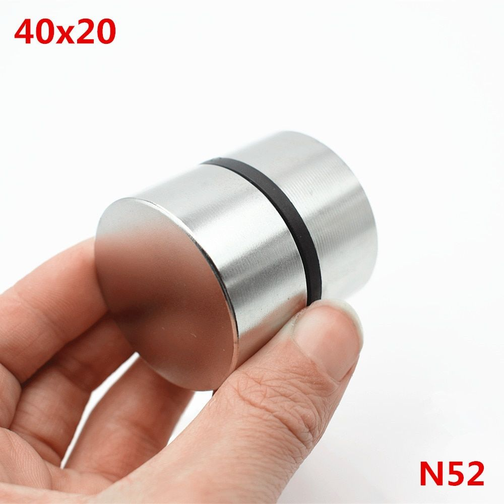 Neodymium magnet 40x20 2pcs rare earth super strong powerful round welding search permanent magnet  40*20mm gallium metal magnet