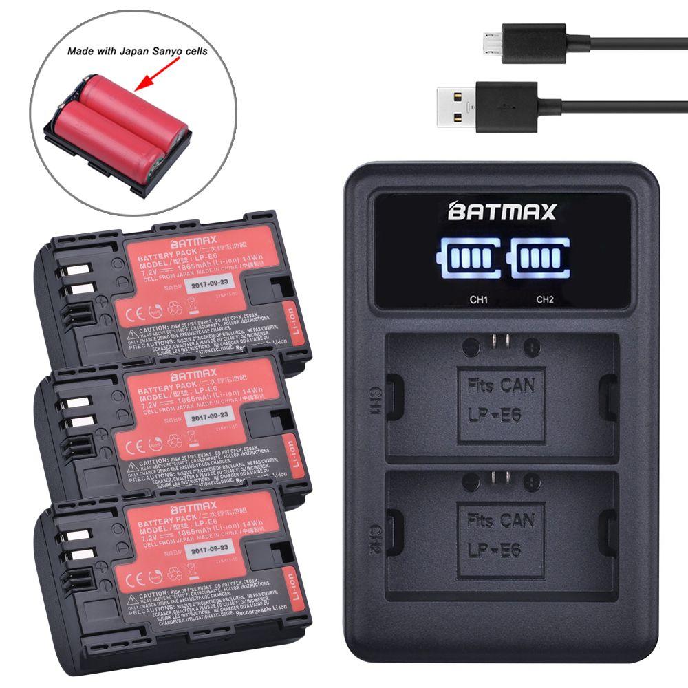 3pcs LP-E6 Battery Japan Cells+ Dual Battery Charger LED Display for Canon LP-E6,LP-E6N, EOS 80D,6D, 7D, 70D, 60D,5Ds,5D Mark