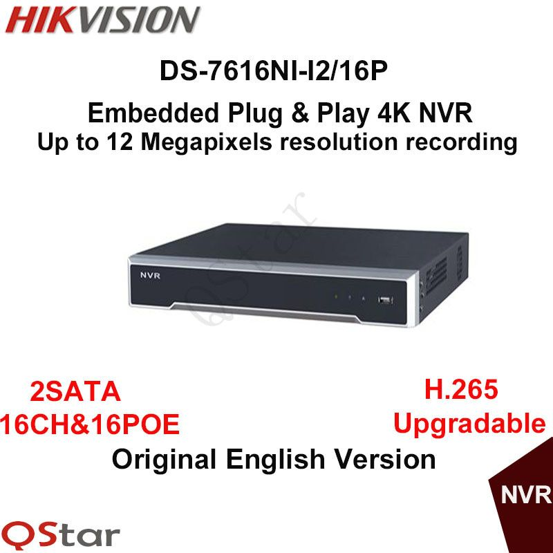 Hikvision Hik H.265 4K POE NVR DS-7616NI-I2/16P 16ch NVR 2SATA 16 POE plug & play 4K NVR IP camera cctv system ONVIF up to 12MP