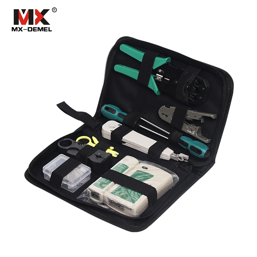 MX-DEMEL 11pcs/set Portable LAN Network Repair Tool Kit Cable Tester Plier Crimp Crimper Plug Stripping Crimp Combination Tools