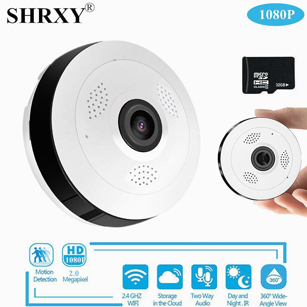 Caméra de vidéosurveillance grand Angle panoramique 360 P HD sans fil caméra IP intelligente Fisheye caméra de sécurité V380 Wifi de 1080 degrés