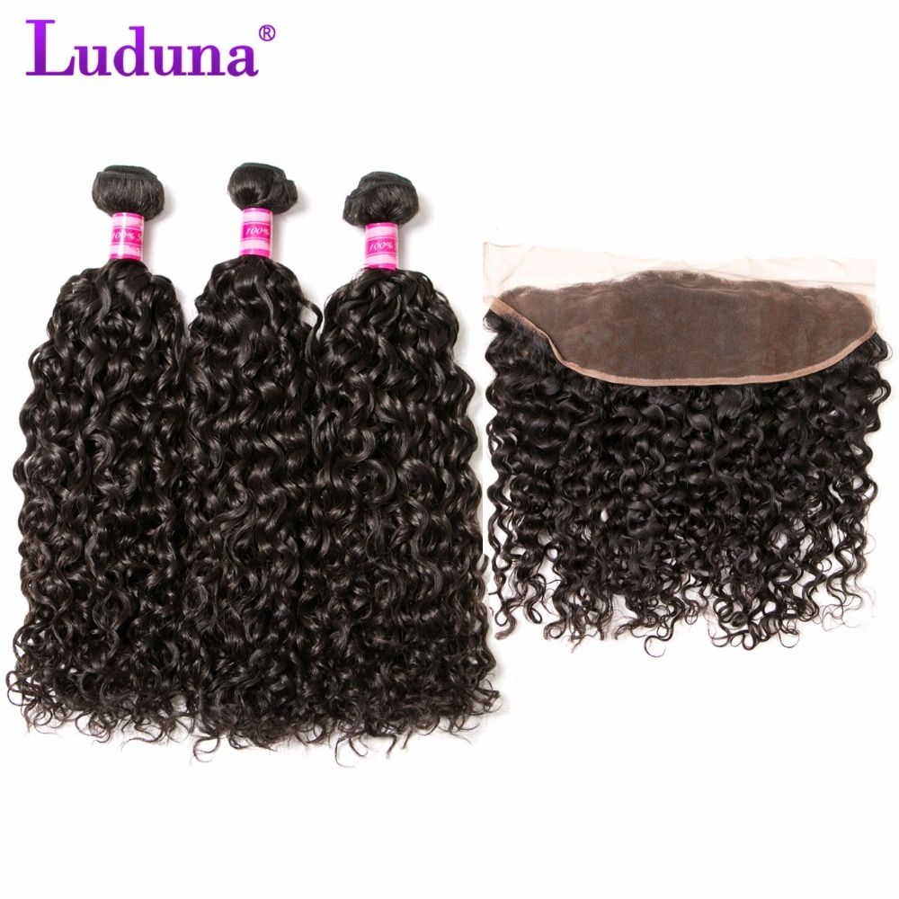 Luduna Malaysian Water Wave Hair 3 Bundles With Lace Frontal Closure Natural Color Human Hair With Closure Free Part Remy Hair