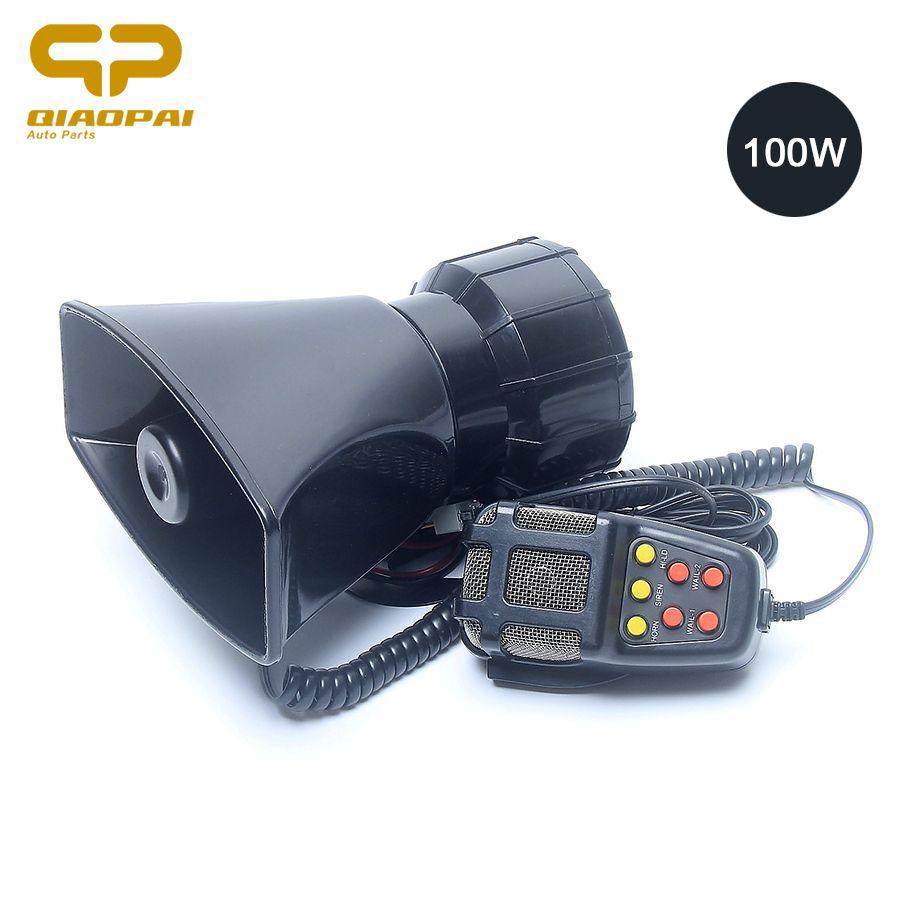 Universal Motorcycle Car Alarm Sound 7 Tone Horn 12V 100W Police Siren Horn Loudspeaker Grill Mesh Firemen Ambulance Megaphone