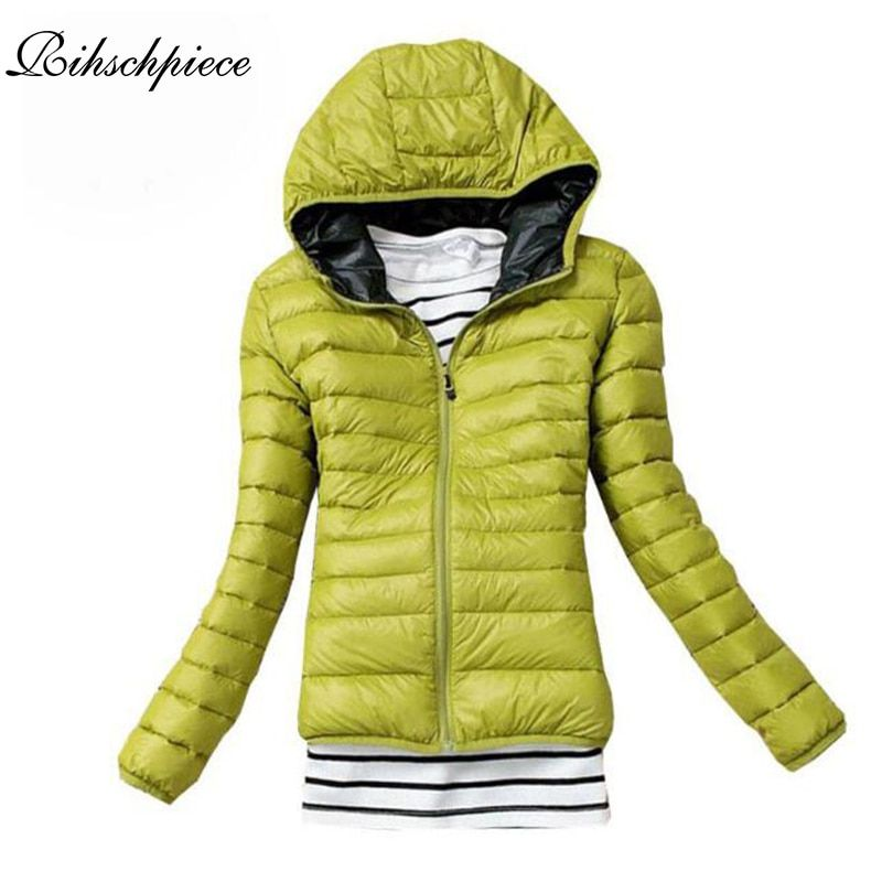Rihschpiece 2017 Winter Ultra Light Hoodie Jacket Women Parka Coat Padded Jackets Long Sleeve Casual Clothes RZF1332
