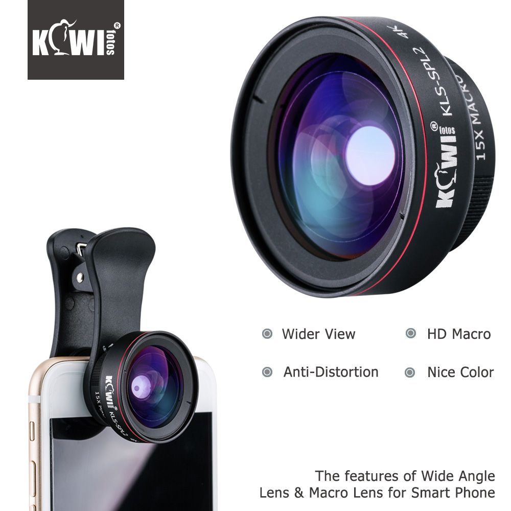 KIWI Smartphone Lens Wide Angle Macro Cell Phone Lenses 15x for Iphone 6/7/7plus/8/8x Samsung Sony Mobile Phone