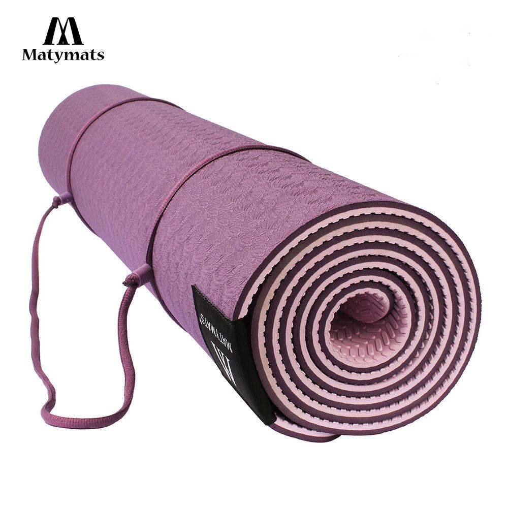 Matymats Non Slip TPE Yoga Mat for Hot Yoga Pilates Gymnastics Bikram Meditation Towel-High Density Thick 1/4'' Durable Mat 72''