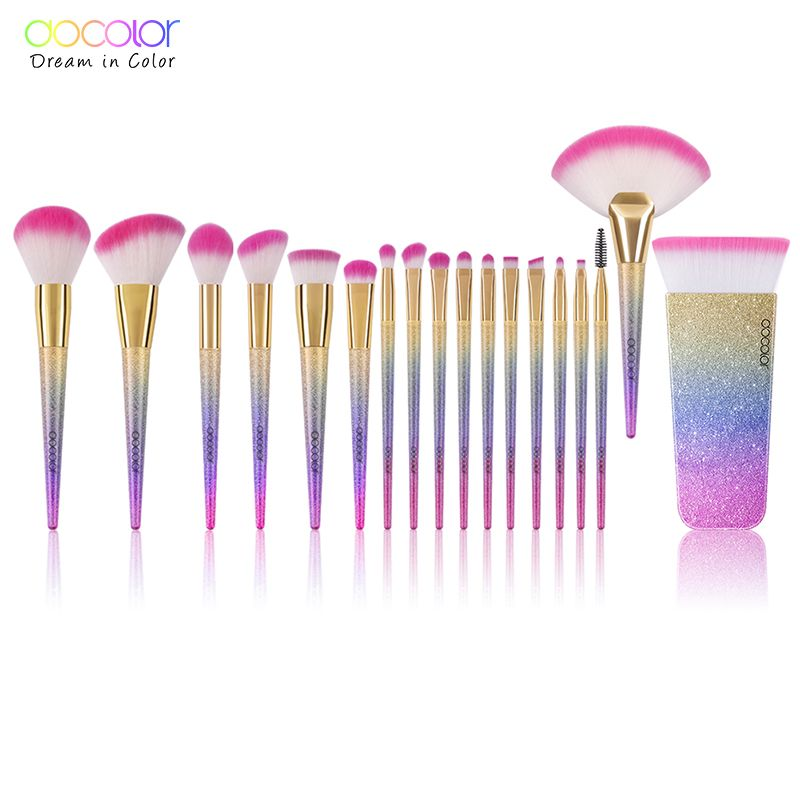 Docolor 18PCS Brand Makeup Brushes Tools Kit Powder Foundation  Blush Eye Shadow Blending Fan Cosmetic Beauty Make Up Brushes