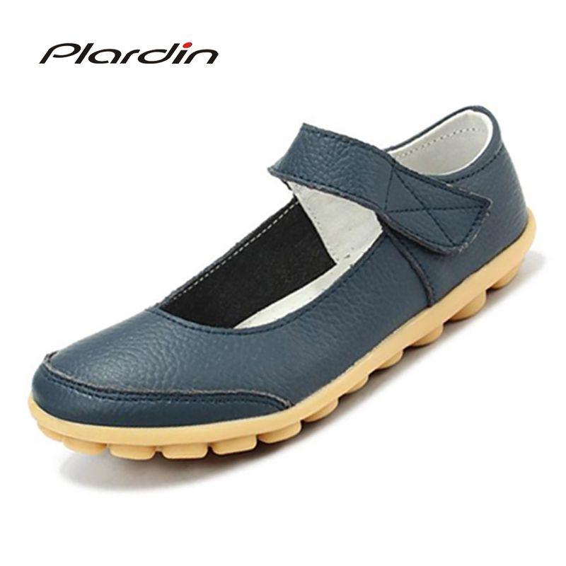 plardin 2017 plus size Genuine Leather Shoes Flat Shallow Ankle Strap Women Shoes Ballet Flats Women Four Seasons Ballerina Flat