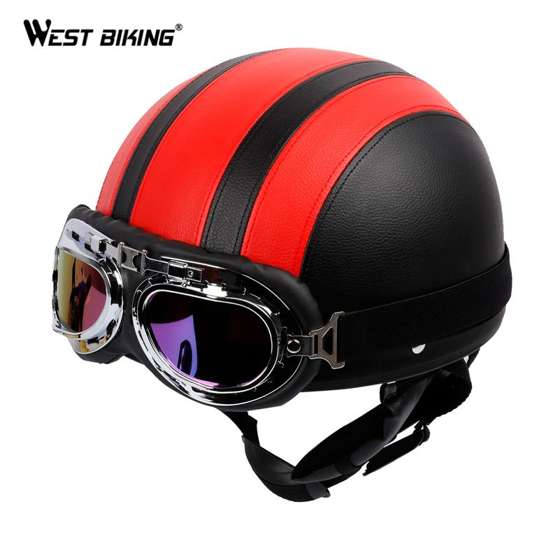 WEST BIKING PU Leather Motorcycle Helmets Bike Bicycle Helmet Open Half Face with Visor Goggles for Men and Women Bicycle Helmet