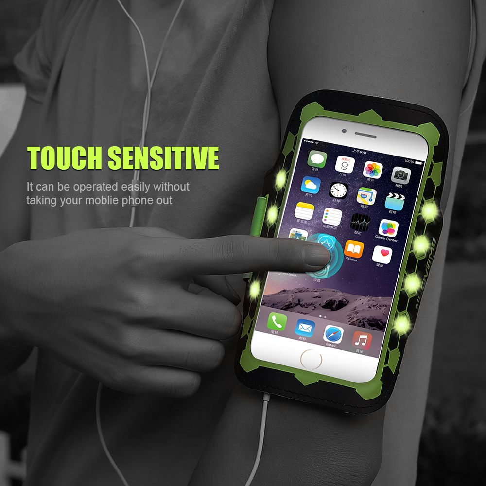 FLOVEME For iPhone 7 6 6S Plus Armband LED Glow Sport Cases Waterproof 5.5