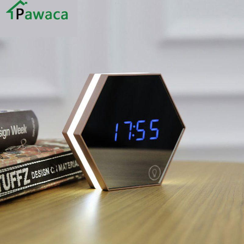 Nouveau électronique multifonction LED veilleuse horloge murale miroir affichage numérique réveil Snooze thermomètre électroluminescente