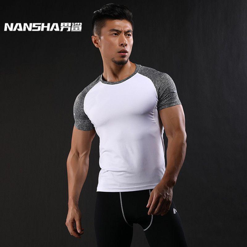 NANSHA À Séchage Rapide Slim Fit T-Shirts Hommes Patchwork T-Shirts Compression Shirt Tops Bodybuilding Fitness O-cou À Manches Courtes T-shirt
