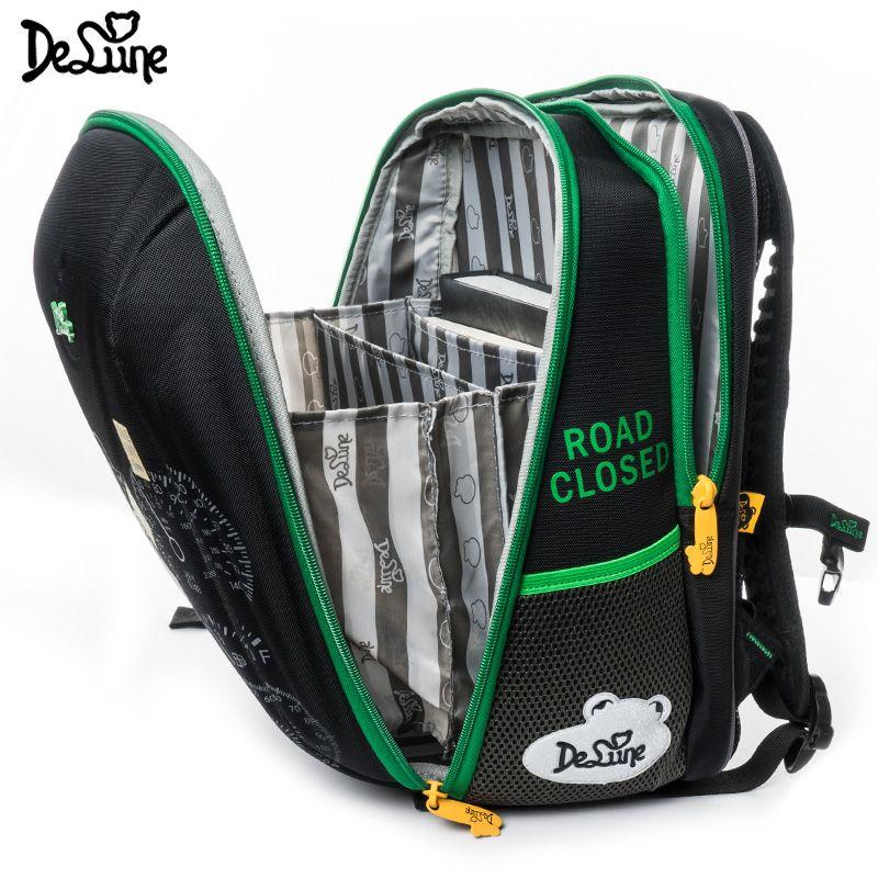 Delune Brand New Orthopedic School Bag for Children Boy Four-wheel Drive Car Print Backpack Speed SUV Mochila Infantil Grade 1-5