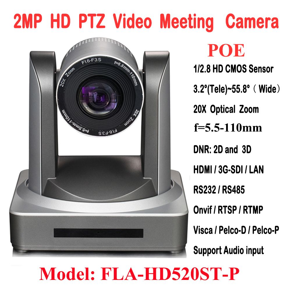 2MP 1080P60/50 PTZ IP Streaming Onvif POE Camera Visca Pelco 20X Optical Zoom Tripod with Simultaneous HDMI and 3G-SDI Outputs