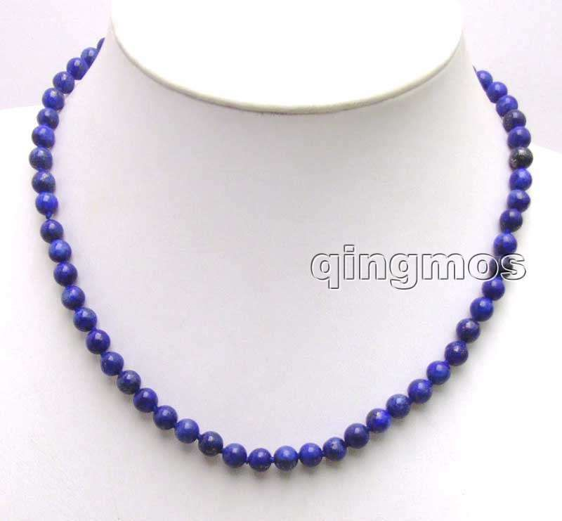 SALE small 6mm Round Blue Natural lapis lazuli 17 Necklace-5853 Wholesale/retail Free shipping