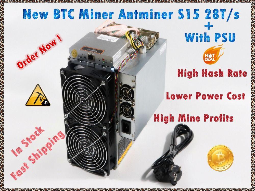 Verwendet BITMAIN BTC BCH SHA-256 Miner AntMiner S15 28 T Mit NETZTEIL Bitcoin Miner Besser Als S9 S9i S9j T9 + WhatsMiner M3 M10 M10S