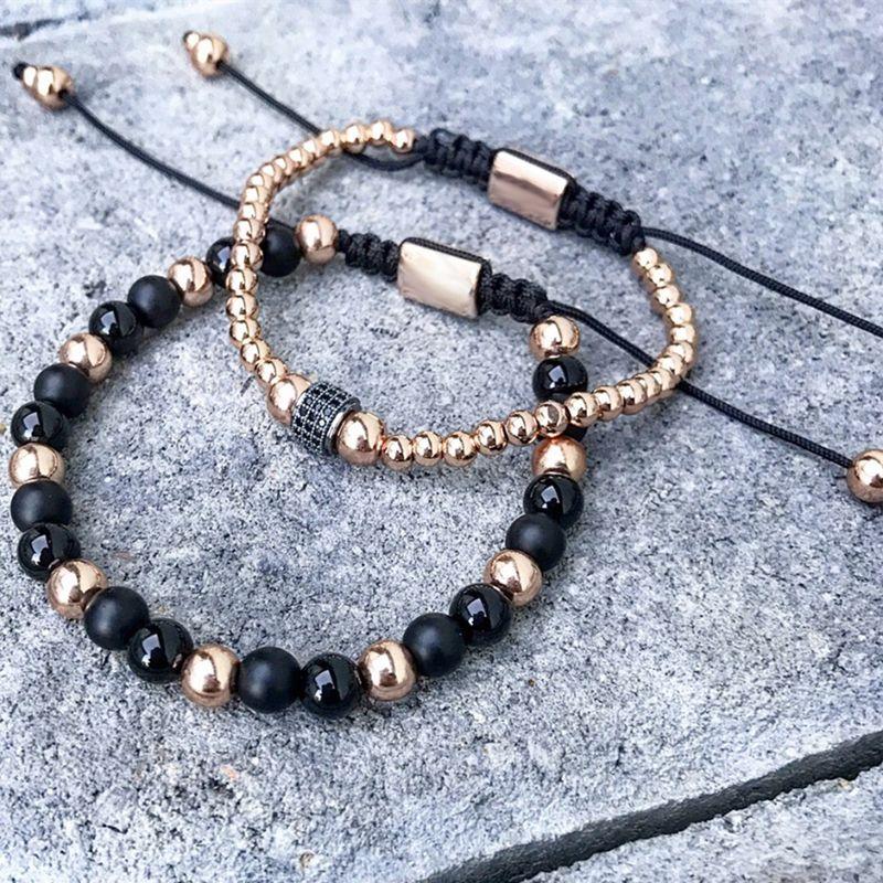 ATTYIRENA Round Stopper Men Bracelet 6mm Titanium Steel Bead Bracelet & 6mm Matte Nature Stone Braiding Macrame Man Bracelet