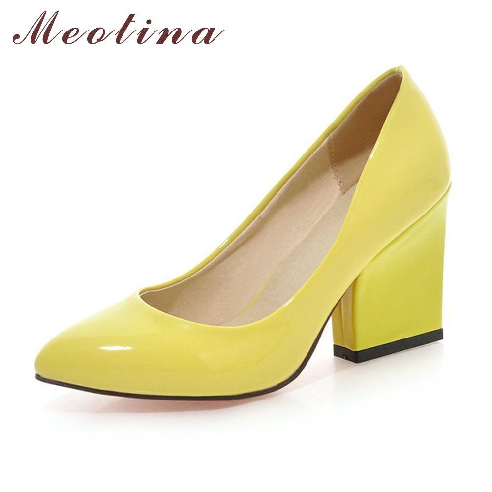 Meotina Обувь на высоком каблуке женские белые свадебные туфли модные туфли для вечеринок на широком высоком каблуке обувь желтого красного цв...