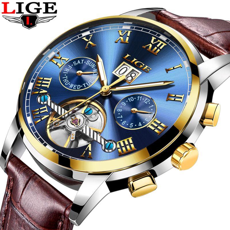 Nueva LIGE Marca de Lujo de Los Hombres de Negocios Relojes de Moda Reloj Automático de Los Hombres 3ATM Impermeable de Cuero Relojes de Pulsera relogio masculino