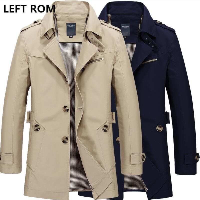 LEFT ROM 2017 New Fashion men are upscale in winter slim Fit Casual trench coat/male pure color Pure cotton long jackets S-5XL