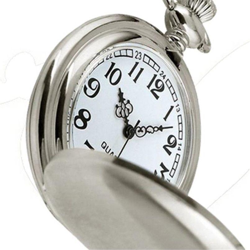 Caja de Acero Inoxidable liso Esfera Blanca Números Arábigos reloj de Bolsillo Moderno Horas reloj de Regalo relojes mujer Hombres del reloj Superior de la Marca Montre M6