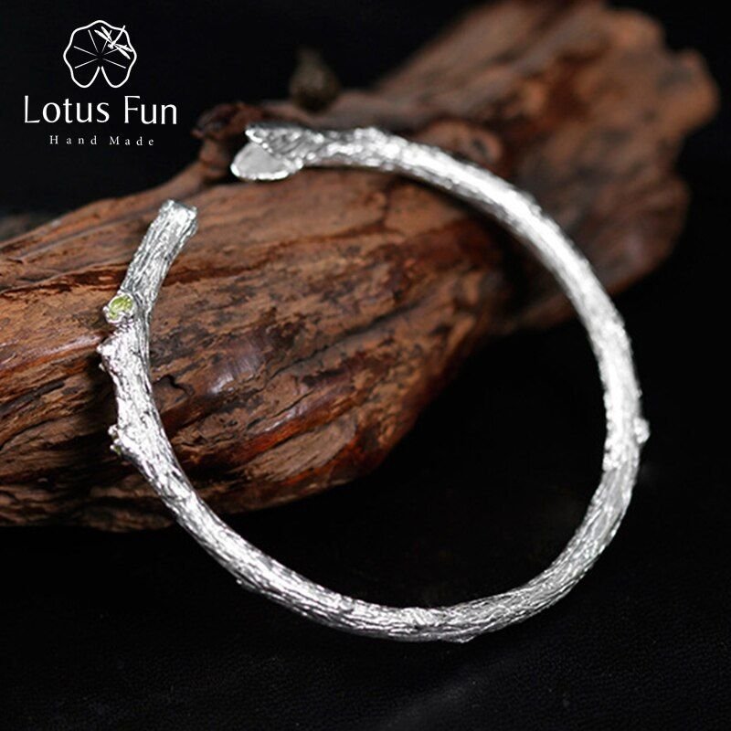Lotus Fun Real 925 Sterling Silver Natural Topaz Stone Original Handmade Fine Jewelry Top quality Tree Branch Bangle for Women B