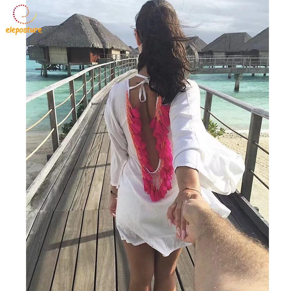 Sexy Backless Quaste Strand Vertuschen Chiffon-Bikini-vertuschung damen Solide Strand Kleid 2018 Neue Badeanzüge Vertuschungen Beachwear