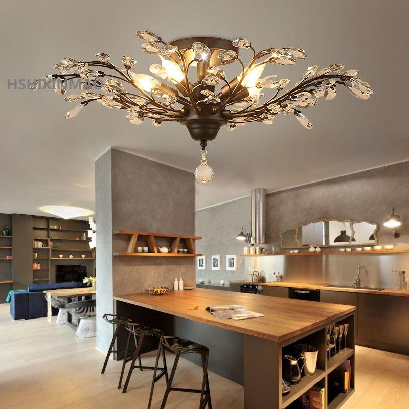 Vintage European and American style chandelier golden black living room bedroom lamp crystal restaurant business ceiling lamp