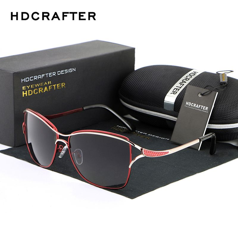 2018 HDCRAFTER Cat Eye Women Sunglasses Brand Designer Metal Frame Polarized Fashion glasses women's gafas de sol Good Quality